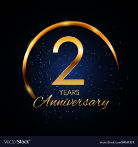 Template Logo 2 Year Anniversary Vector Illustration EPS10
